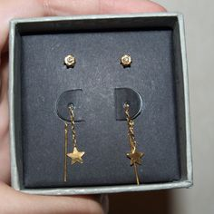 $5 2 pair 18K gold urban outfitters earrings Brand new in box! Box is a bit scuffed up. These are 18K gold plated sterling silver earrings. Very cute! Makes a great gift! Urban Outfitters Jewelry Earrings