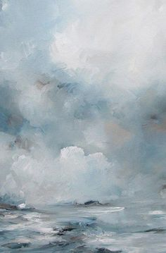 Waves to Clouds Blue Abstract Canvas Painting – Ellie Lane | Furniture & Decor for Coastal & Mountain Interiors #abstractart