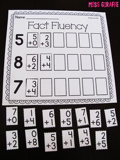 Fact Fluency Cut and Paste activities and other great ideas!