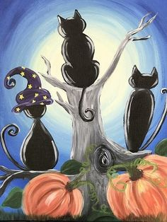 Find the perfect thing to do tonight by joining us for a Paint Nite in Albany, NY, featuring fresh paintings to be enjoyed over even fresher cocktails! Pumpkin Canvas Painting, Halloween Canvas Paintings, Halloween Painting, Autumn Painting, Autumn Art, Halloween Art, Diy Painting, Painting & Drawing, Canvas Art