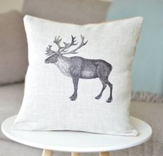 Add a festive touch to the sofa ' Caribou ' Linen Cushion Scandi Christmas, Christmas Tree Garland, Christmas Wishes, Scandinavian Bedroom, Printed Cushions, Woodland Animals, Soft Furnishings, Cushion Covers, Unique Gifts