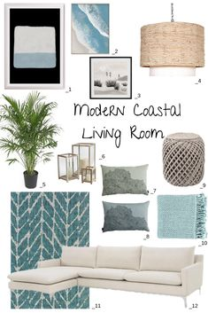 Inspiration for a modern coastal living roo… 12 Modern Coastal Living Room Ideas. Inspiration for a modern coastal living room in soft beachy hues of blue, gray and sand for a modern take on beach cottage decor. Modern Coastal Decor, Modern Coastal, Beach House Living Room, Boho Living Room, Coastal Living Rooms, Living Room Grey, Beach Living Room, Cottage Living Rooms, Living Decor