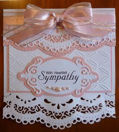 Handcrafted by Helen: Apricot and white spellbinder sympathy card Hand Made Greeting Cards, Making Greeting Cards, Greeting Cards Handmade, Spellbinders Cards, Stampin Up Cards, Heartfelt Creations, Tattered Lace Cards, Card Creator, Embossed Cards