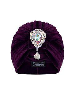 Purple Velvet Turban with Contrasting Hanging por TheFHBoutique, £25.00