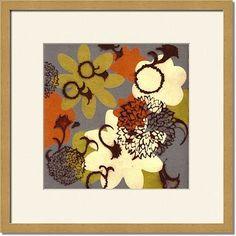 Botanica Blue Grey Orange By Laura Zeck framed artwork at ImageKind.com