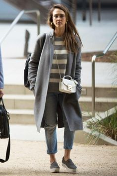 Jessica Alba wearing Furla White Metropolis Crossbody Bag, Cuyana Leather Backpack in Black, Bonheur Jewelry Selena Hoop Earrings and Opening Ceremony Platform Suede Slip-on Sneakers