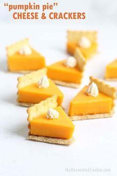 PUMPKIN PIE CHEESE AND CRACKERS is a fun food idea for a Thanksgiving appetizer that is so easy to make. Video how-tos included. Pumpkin pie cheese and crackers are a fun Thanksgiving appetizer idea. Slow Cooker Desserts, Mini Desserts, Fall Recipes, Holiday Recipes, Pumpkin Recipes, Sweet Recipes, Thanksgiving Snacks, Thanksgiving Decorations, Appetizers For Thanksgiving