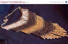 Sale Vintage Boho Necklace  Retro Hippie Chevron by EstatesInTime