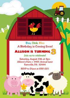 Shop Cute Farm Animal Birthday Party Invitations created by alleventsinvitations. Personalize it with photos & text or purchase as is! Baby Boy 1st Birthday Party, Farm Animal Birthday, Farm Birthday, Birthday Animals, Tractor Birthday, 1st Birthday Party Invitations, Birthday Party Themes, Baby Shower Invitations, Birthday Ideas