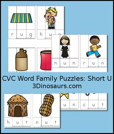 Free CVC Word Family Puzzles Short U - ug, -un, -ut - 3Dinosaurs.com