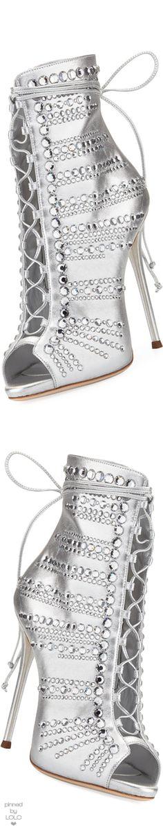 Giuseppe Zanotti Embellished Metallic Leather Peep-Toe Bootie