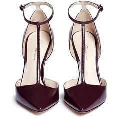 3.1 Phillip Lim 'Martini' T-strap leather pumps featuring polyvore fashion shoes pumps heels scarpe burgundy heels pumps stiletto heel shoes evening shoes burgundy pumps stilettos shoes