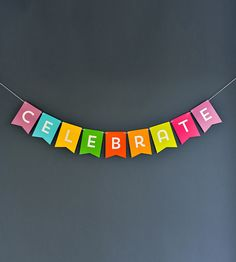 "Birthdays, baby showers, wedding anniversaries, a new pair of shoes—they're all pretty good reasons for celebration. Make sure the décor is set up to match the festivities with this cheerful ""CELEBRATE"" banner, customized in your choice of background color."