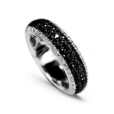18CT White Gold Black Diamond Ring www.linkedgem.com/