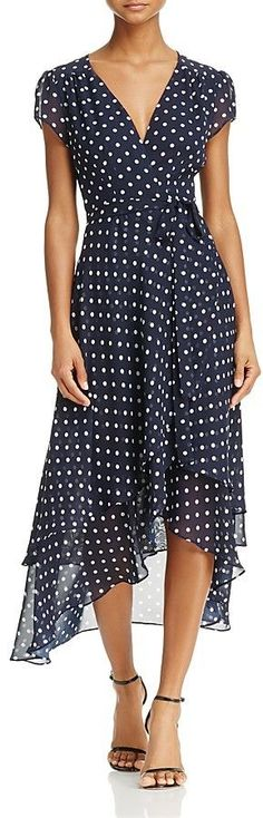 Betsey Johnson Polka Dot Wrap Dress Love the length and high/low style. Dress Outfits, Cute Outfits, Fashion Outfits, Womens Fashion, Woman Outfits, Style Fashion, Trendy Dresses, Nice Dresses, Summer Dresses