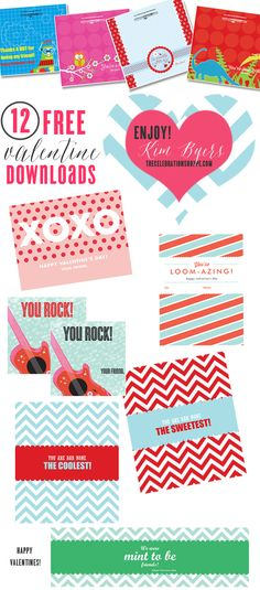 12 Free Class Valentines | Kim Byers, TheCelebrationShoppe.com #classvalentines #freedownload