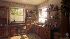 Cozy Kitchen, Kitchen Art, Kitchen Interior, Interior And Exterior, Kitchen Cabinets, Kitchen 3d Model, Kitchen Drawing, Cozy Room, Sweet Home