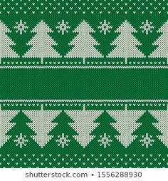 Imágenes similares, fotos y vectores de stock sobre Nordic knitted pattern with Christmas tree and snow, in green, white and red vector illustration; Ribbon On Christmas Tree, Christmas And New Year, Christmas Knitting, Winter Holidays, Knit Patterns, Illustration, Stitch, Holiday Decor, Green