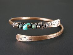 Hammered Copper Wire Bangle With African Turquoise Beads, Antiqued Copper Bangle, Arrow & Heart Bracelet