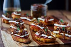 Onion & Fig Jam Crostinis with Roasted Garlic, Brie & Prosciutto ~ Cooks With Cocktails Fig Recipes, Cooking Recipes, Crostini, Canapes, Bruschetta, Onion Jam, Sugar Donut, Fig Jam, Appetizer Dips