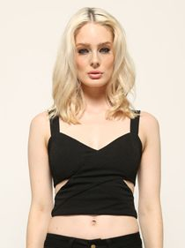 Gaga Crop Top Black   Ladies Clothing Online   Birdmotel