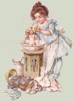 "Digital Download Maud Humphrey Bogart's ""Dolly's Bath"" Antique Die Cut Edwardian Scrap Graphic Image"