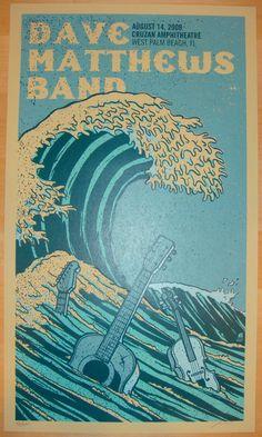 "Dave Matthews Band - silkscreen concert poster (click image for more detail) Artist: Methane Studios Venue: Cruzan Amphitheatre Location: West Palm Beach, FL Concert Date: 8/14/2009 Size: 14"" x 24"" Ed"