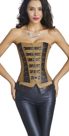 Ya Lida Women's Vintage Spiral Steel Boned Steampunk Goth Halloween Burlesque Corset -- You can get more details here : Plus size lingerie
