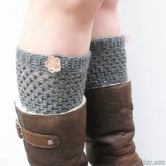 Crochet Mid Length Boot Cuffs in Charcoal Slate Grey by luvbuzz, $23.00