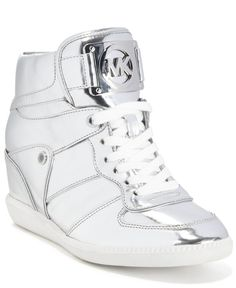 af6e4939885b Michael Michael Kors Nikko Lace-Up High-Top Wedge Sneakers Metallic Wedges