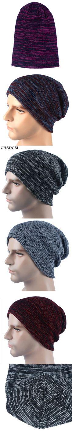 b62f5f86769 CHSDCSI Men s Skullies Bonnet Winter Beanie Knitted Wool Hat Plus Velvet Cap  Thicker Stripe Skis Sports