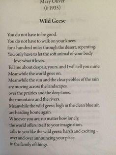 "Mary Oliver, ""Wild Geese,"" from New and Selected Poems, Volume One Here's a recording of her reading the poem: She did a wonderful interview with On Being. I used this quote to open The Steal Like An. Wild Geese Mary Oliver, Mary Oliver Poems, Austin Kleon, Sympathy For The Devil, Simple Sayings, Tired Of Waiting, Epic Quotes, What Book, Word Pictures"