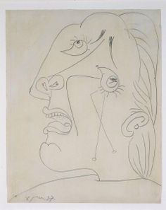 Cabeza llorando (IV). Postscripto de «Guernica» Picasso Guernica, Pablo Picasso Drawings, Picasso Sketches, Art Picasso, Figure Drawing, Line Drawing, Cubist Movement, Conceptual Drawing, Famous Art