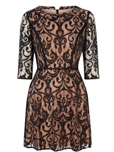 Winter wedding guest outfit: The lace skater dress