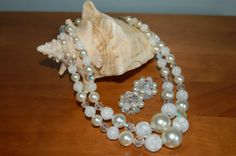 Vintage Double Strand White Beaded Necklace and Earrings Set, Demi Parure, Bridal Necklace and Earrings, Shabby Chic