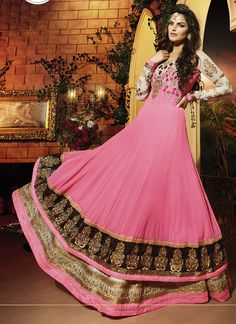 Pink Georgette embroidered work for parties