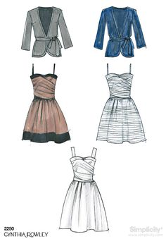 Simplicity pattern 2250: Misses' Dresses. Includes jacket and belt pattern. Cynthia Rowley Collection.