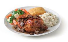 Boston Market Rotisserie Chicken Marsala | features the chain's trademark chicken topped off with sauteed cremini and portobello mushrooms, garlic, fresh herbs, and a Marsala wine sauce.