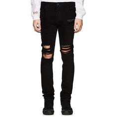 RtA Men's Distressed Skinny Jeans ($315) ❤ liked on Polyvore featuring men's fashion, men's clothing, men's jeans, black, mens super skinny jeans, mens skinny fit jeans, mens ripped jeans, mens zipper jeans and mens torn jeans