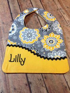 Personalized Baby Bib, - Monogrammed Bib, - Reversible Embroidered Baby Bib…