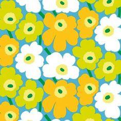 Latest Designer Fabric 'Pieni Unikko fabric in blue, green, orange, white' by Marimekko (FIN). Buy online or visti our fabric retail store in Christchurch.