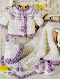 вязаный крючком комплект для новорожденного