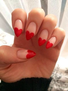 heart stiletto red nails