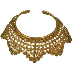 Pre-owned Dominique Favey Gilded Bronze Lace Collar ($2,800) ❤ liked on Polyvore featuring jewelry, necklaces, choker necklaces, spiral necklace, antique necklace, lace collar necklace, collar choker and lace necklace