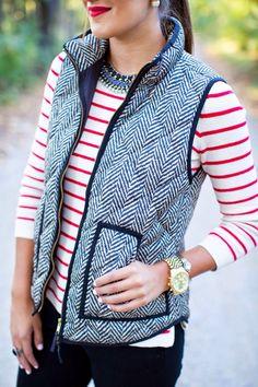 herringbone vest, herringbone puffer vest, how to style herringbone vest, j. Preppy Mode, Preppy Style, Preppy Fall, Fall Winter Outfits, Autumn Winter Fashion, Winter Vest, Fashion Over 40, Women's Fashion, Fashion Styles