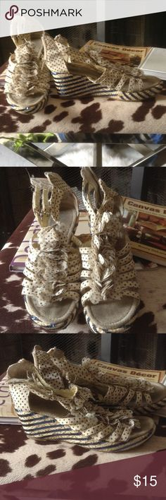 Sandals Cream with blue sequins ENZO Sandals cream and blue sequins. Sandals are in great condition. Sole is a bit dirty form the sand at the beach. Worn only a few times. Enzo Angiolini Shoes Sandals