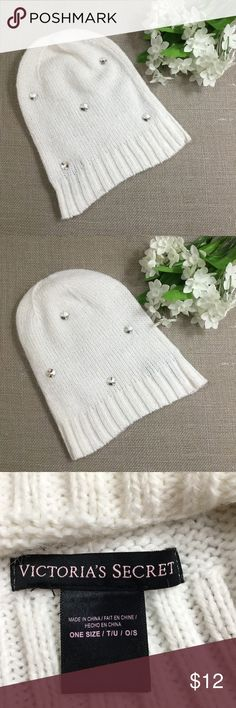 VICTORIA'S SECRET Jeweled Ivory Knit Beanie Cap Soft and fuzzy ivory knit cap accented with shimmering rhinestones. In excellent condition with no holes, no spots, no rips, no defects. A cute cap for fall and winter. One size. Victoria's Secret Accessories Hats