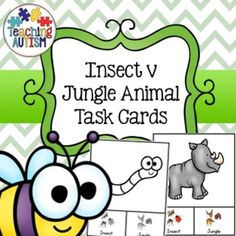 This resource contains 27 different task cards giving students the choice of recognising if the animal is an insect or jungle animal.The task cards are in col and b/w option for your preference.I recommend cutting out each card individually and laminating so that they will be stronger and longer lasting.