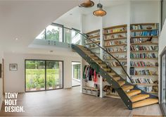 Tony Holt Design : Self Build - Contemporary New Build House. Double Height Entrance Hall and Gallery Landing Home Renovation, Home Remodeling, Bauhaus, Bespoke Staircases, Modern Barn House, House Elevation, House Extensions, Staircase Design, New Builds