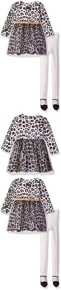 BON BEBE Girls' 2 Piece Glitter Tulle Dress with Rear Snap Neck Opening and Mary Jane Tights, Leopard/Gold, 3-6 Months
